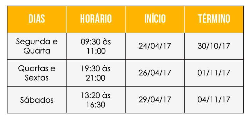 horario das aulas